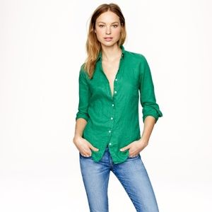 NWT J. Crew Perfect Shirt Cotton Linen Green 0